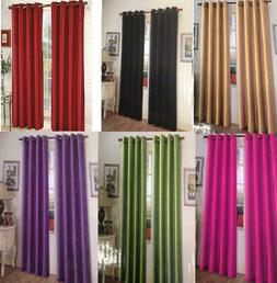 """2 MIRA grommet solid panels window curtains 2x 52x84""""or 52x6"""