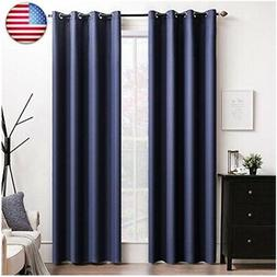 MIULEE 100% Blackout Curtains Thermal Isulated Solid Grommet