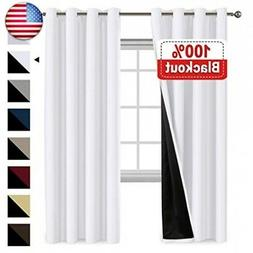 100% Blackout White Curtains for Bedroom 84 Inches Long, The