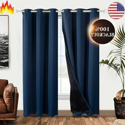 100% Thermal Insulation Blackout Rod and Loop Curtain 2 Pane