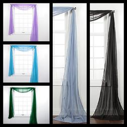 1PC ELEGANCE SHEER WINDOW SCARF VALANCE CURTAIN TOPPER SOLID