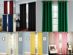 2 Piece Solid Faux Silk Grommet Window Curtain Panel - All S