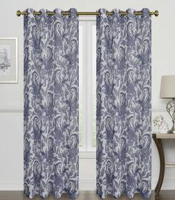 2 Pack: 100% Thermal Grommet Blackout Paisley Curtains - Ass
