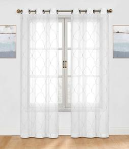 2 Pack: Trellis Embroidered Sheer Voile Grommet Curtain Pane