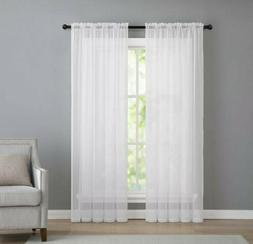 2 Panels Beautiful Rod Pocket Sheer Voile Window Curtain Pan