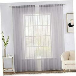 2 Panels Gray Solid Color Sheer Window Curtains Elegant Wind