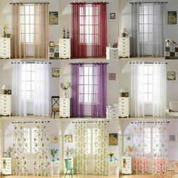 2x Grommet Textured Solid Semi-Sheer Curtains for Home Bedro