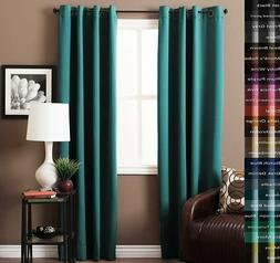 2 TEAL SOLID LINED BLACKOUT THERMAL GROMMET WINDOW CURTAIN D