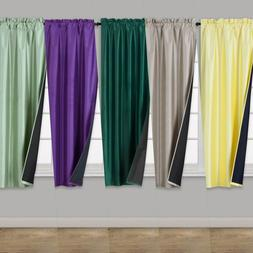 """2PC 30"""" x 36"""" Window Curtain Black Backing Thermal Lined Bla"""