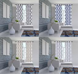 2PC SET GEOMETRIC PATTERN BLACKOUT LINED WINDOW CURTAIN BRON