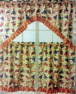 3 pc Kitchen Curtains Set: 2 Tiers  & Swag  FRUITS BOX, LX