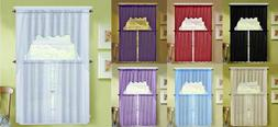 3PC VOILE SHEER KITCHEN WINDOW CURTAIN TREATMENT 2 TIERS AND