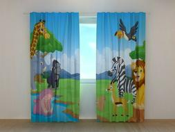 3D Window Curtain Printed with Cute African Animals Wellmira