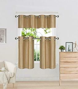 3PC Set Kitchen 2Tier and 1Valance Faux Silk Grommet Blackou