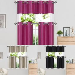3PC THICK KITCHEN LIVING ROOM GROMMET WINDOW CURTAIN TIER &