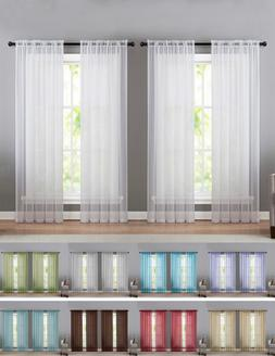 4 Pack Basic Home Sheer Voile Window Curtains - Assorted Siz