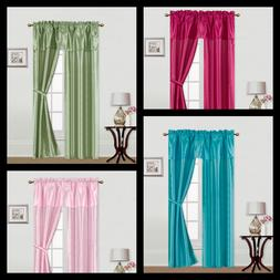 5PC SET SOLID/PRINT WINDOW CURTAIN SILK PANELS ATTACHED VALA