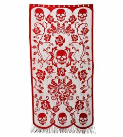 7 Foot Gothic Style Red Skulls, Vines & Roses Decorative Hal