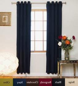 Blackout Curtain Navy Nickel Grommet Top Energy Saving Therm