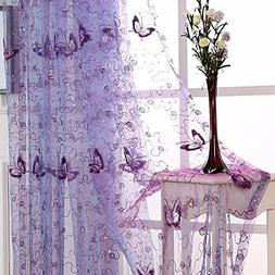Butterfly Embroidered Sheer Tulle Curtains Rod Pocket 39 Inc
