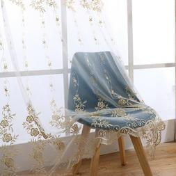 European Embroidered Beige Sheer Tulle Curtains Transparent