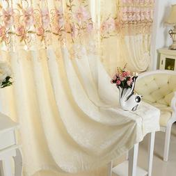 """Flower Embroidered Sheer Hollowed Velvet Cloth Curtains 63"""""""