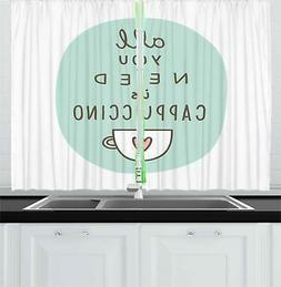 """Funny Words Kitchen Curtains 2 Panel Set Window Drapes 55"""" X"""