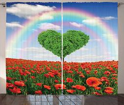 Hearts Love Sky Rainbow Garden Poppies Floral Curtains for L