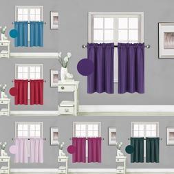 "2PC Rod Pocket Insulated Blackout Window Tier Curtains 30"" X"