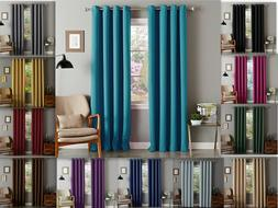 Lina Solid Woven Thermal Grommet Blackout Window Curtain Pan