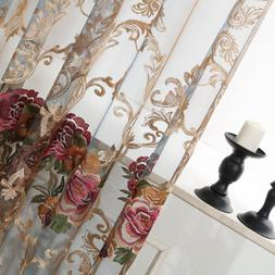Luxury Flower Embroidered Transparent Sheer Voile Curtain Tu
