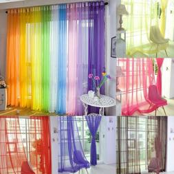 Sheer Voile Window Curtains/Drape/Panel/Scarf Assorted Solid