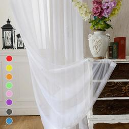 Solid White Sheer Curtains Rod Pocket Simple Voile Organdy T