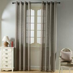 Top Finel Solid Sheer 2 Curtain Panels Set Grommet 84 Inch l