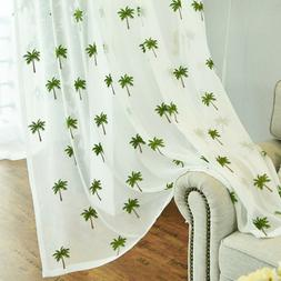 Tropical Coco Embroidered Window Sheer Curtain Fresh Voile 6