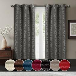 Set of  2 Virginia Blackout Leafy Weave Curtains Modern Grom