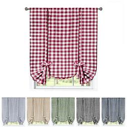 Window Curtain Tie-Up Shade Checked Plaid Gingham Kitchen Dr