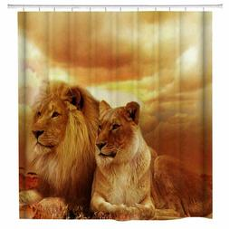 African Lion Fabric Shower Curtain Set Bathroom Decor with H