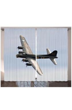 Airplane Decor by Ambesonne, Memphis Belle Bomber, 2 Panels,