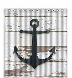 Anchor And Rustic Wood Waterproof Polyester Bath Shower Curt