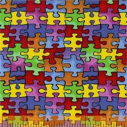 Autism Fabric, BTY,  Autism Awareness, 19596, Puzzle Fabric,