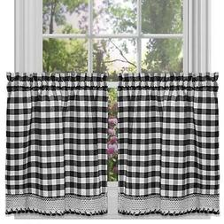 black and white buffalo check window curtain