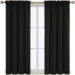 black blackout curtains thermal insulated rod pocket