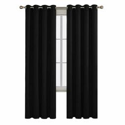 Deconovo Black Blackout Curtains Thermal Insulated Rod Pocke