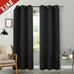 Black Curtains for Bedroom 84 inches Long Waffle Weave Textu