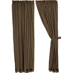 Black Star Scalloped Panel Set Curtains Rustic Khaki Appliqu