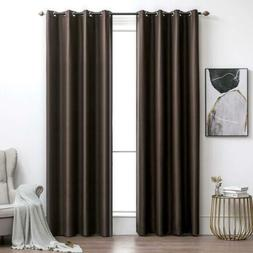 MIULEE Blackout Curtains Chocolate Thermal 52''W x 84''L,