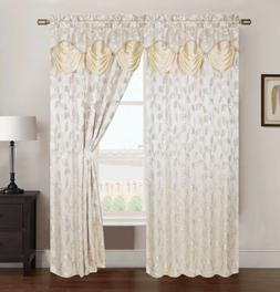 Brenda Jacquard Rod Pocket Panel With Attached Valance, Beig