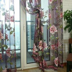 Butterfly Embroidered Sheer Tulle Curtains Floral VoileLivin
