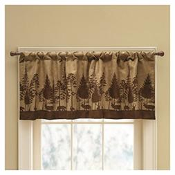 Cabin Pine Lodge Wildlife Window Valance, Rich Browns, Moder